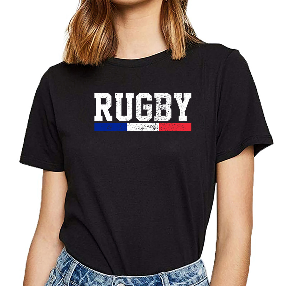 Tops T Shirt Women Rugby France Humor White Short Female Tshirt