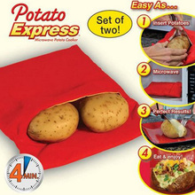 1Pcs NEW Red Washable Cooker Bag Baked Potato Microwave Cooking Potato Quick Fast (cooks 4 potatoes at once) C1095 a цены
