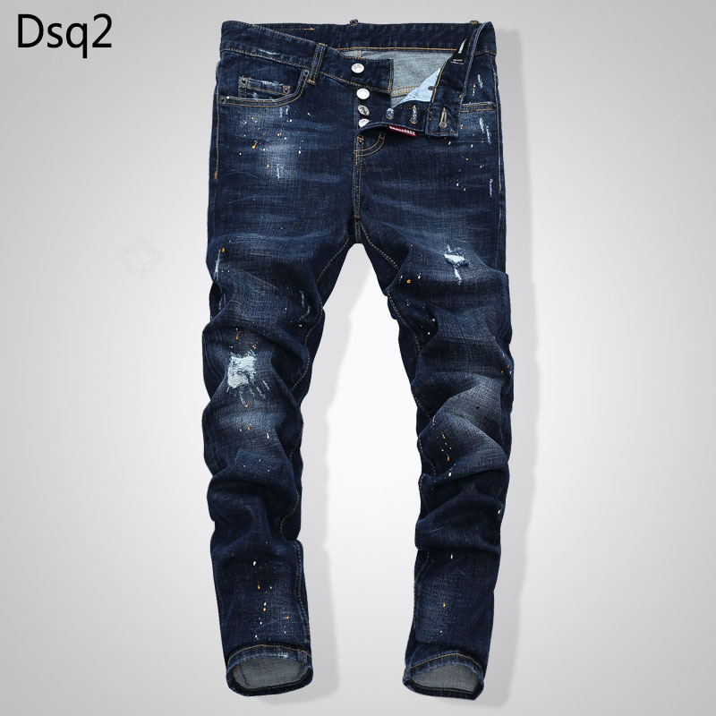 Elastic Jeans Slim-Blue-Hole-Jeans Denim Trousers Patchwork Dsq Zipper Mens European-Style title=