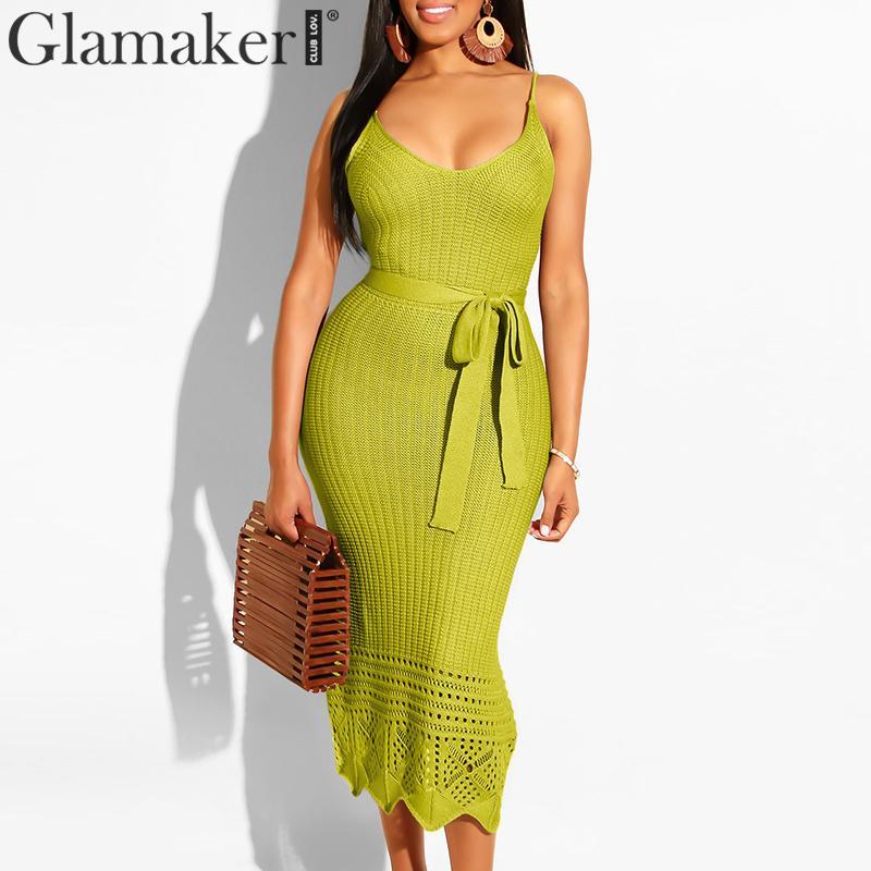 Glamaker Crochet Strap V Neck Sundress Women Summer Elegant Lace Up Belt Bodycon Holiday Maxi Dress Female Streetwear Sexy Dress