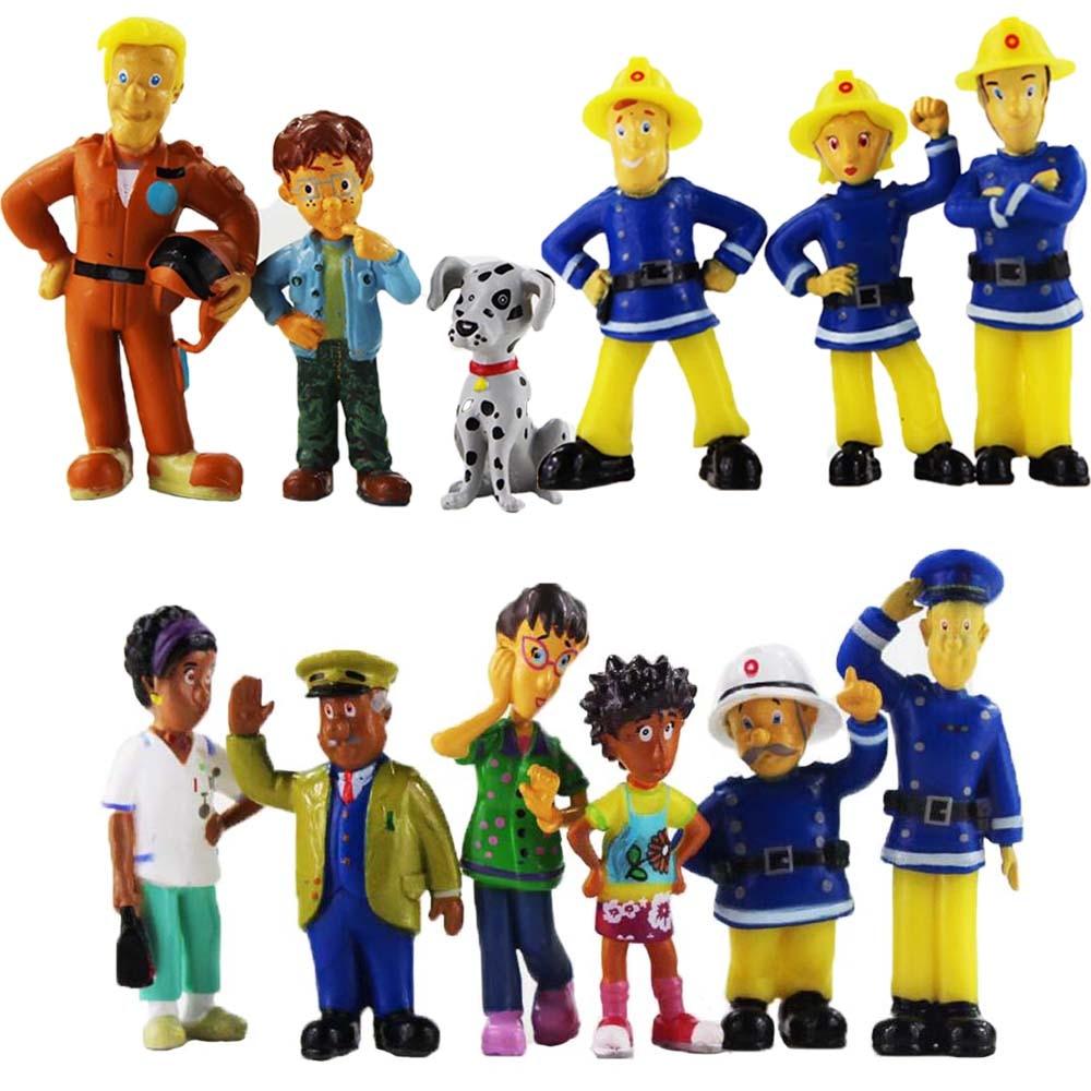 Экшн-фигурки из мультфильма «Пожарный Сэм», 12 шт./лот, игрушки, ПВХ модели, куклы, подарки для детей на день рождения