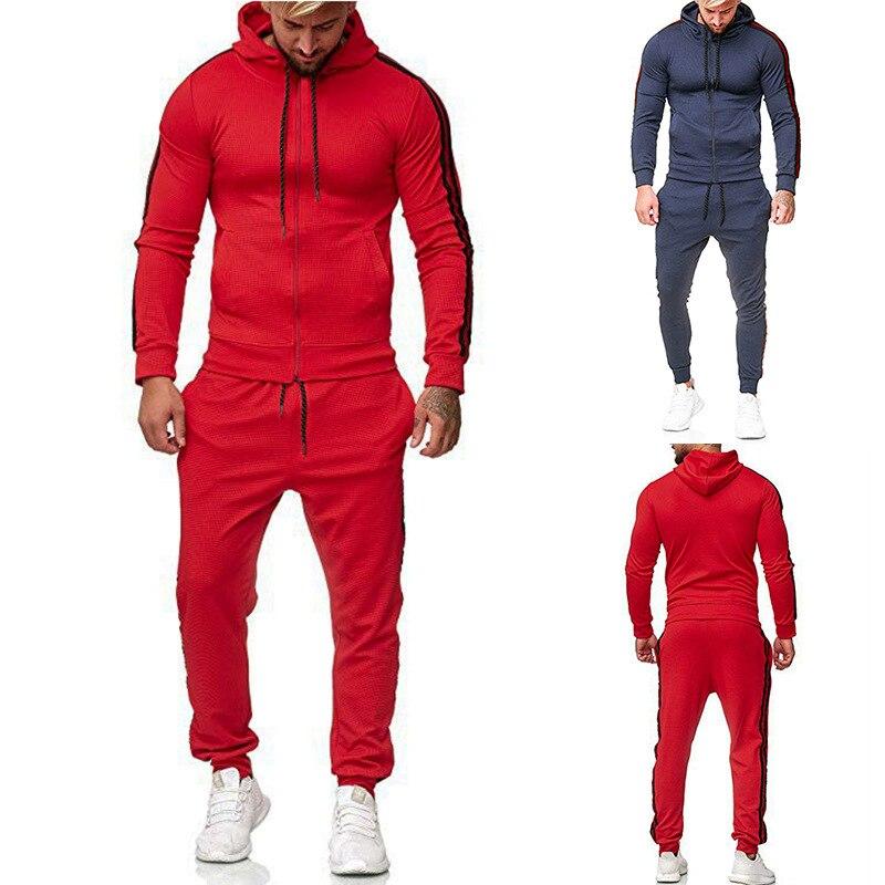 2019 Ouma Zip Stripes Joint Hoodie Drawstring Athletic Pants Set A27 Set