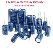 6.3v 10v 16v 25v 35v 50v 400v 450v 1uf 2.2uf 4.7uf 10uf 1000uf 22uf 33uf 47uf 470uf 100uf 220uf alumínio eletrolítico capacitor