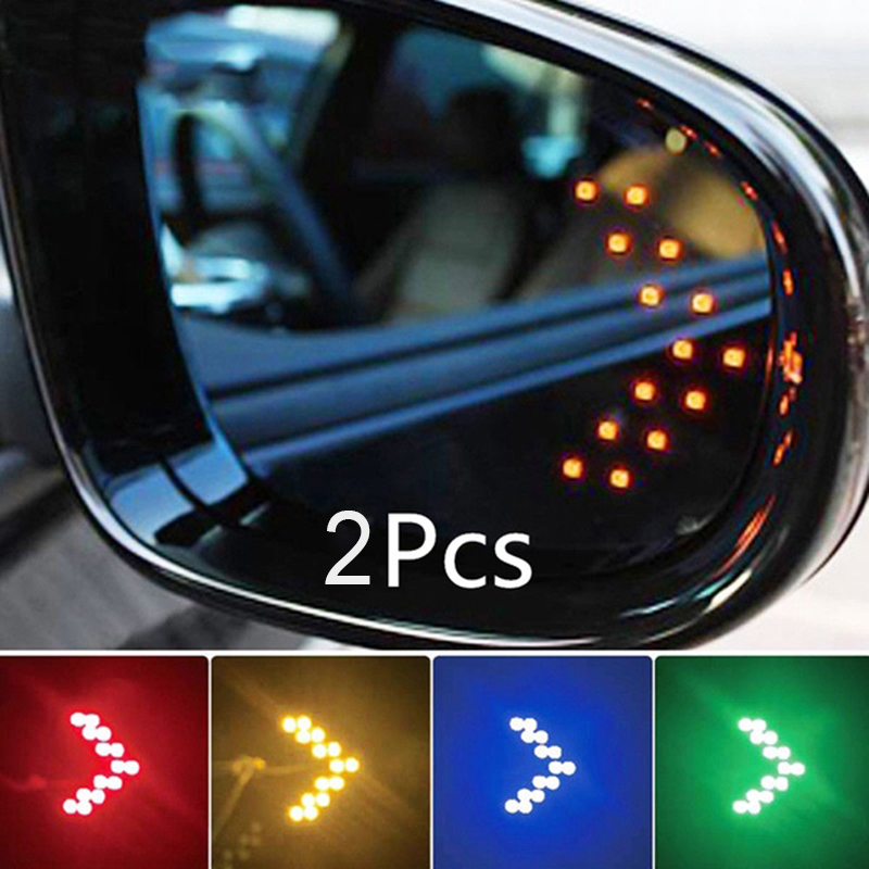 2pcs /set Car LED Turn Signal Lamp 14SMD LED Arrow Panel For Car Rearview Mirror Indicator Turn Signal Light Car Accessories