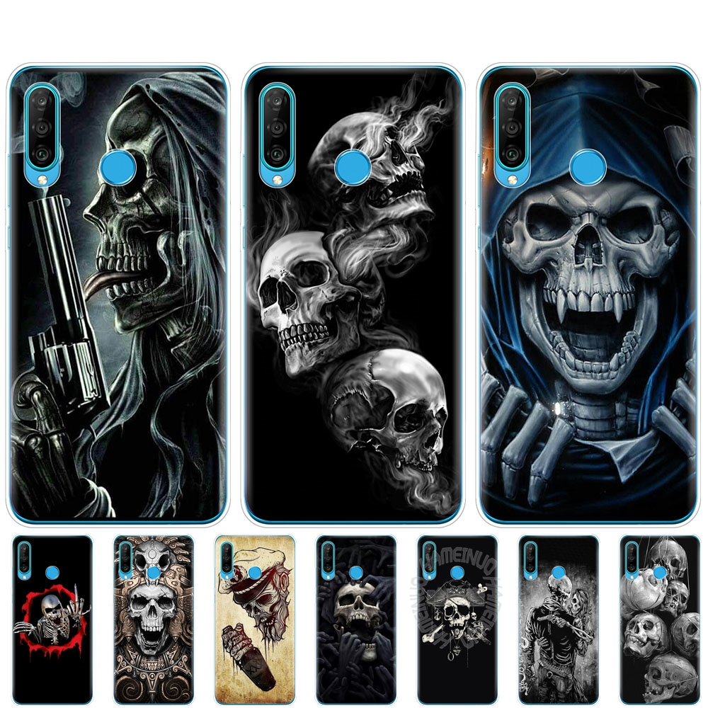 <font><b>silicon</b></font> phone cover <font><b>case</b></font> for <font><b>HONOR</b></font> 20 lite view 30 v 30 pro cover for huawei <font><b>honor</b></font> 20S 9A 9C 9S 9X Premium <font><b>7s</b></font> 8a Horror Skull image