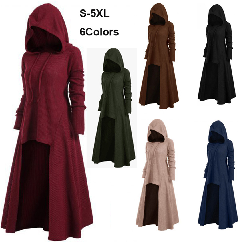 S-5XL Hooded Dress Middle Ages Renaissance Halloween Hunter Archer Cosplay Costumes Vintage Medieval Carnival Party Vestido
