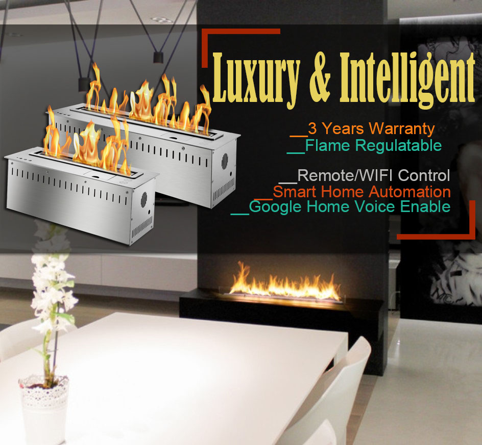Hot Sale 24 Inches Luxury Ethanol Flame Fireplace Ventless Google Home Enabled Burner Insert