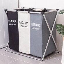 Корзина для хранения грязной одежды, три сетки, корзина-органайзер, Складная Большая корзина для белья, водонепроницаемая корзина для домашнего белья