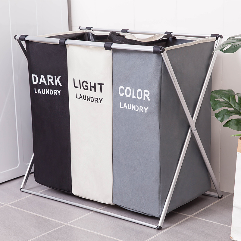 Dirty Clothes Storage Basket Three Grid Organizer Basket Collapsible Large Laundry Hamper Waterproof Home Laundry Basket title=