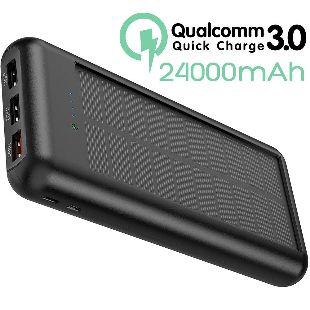 ALLPOWERS 24000mAh batterie externe QC Charge rapide batterie externe Triple USB Powerbank PD Charge rapide pour iPhone X Xs Xr Xs max.