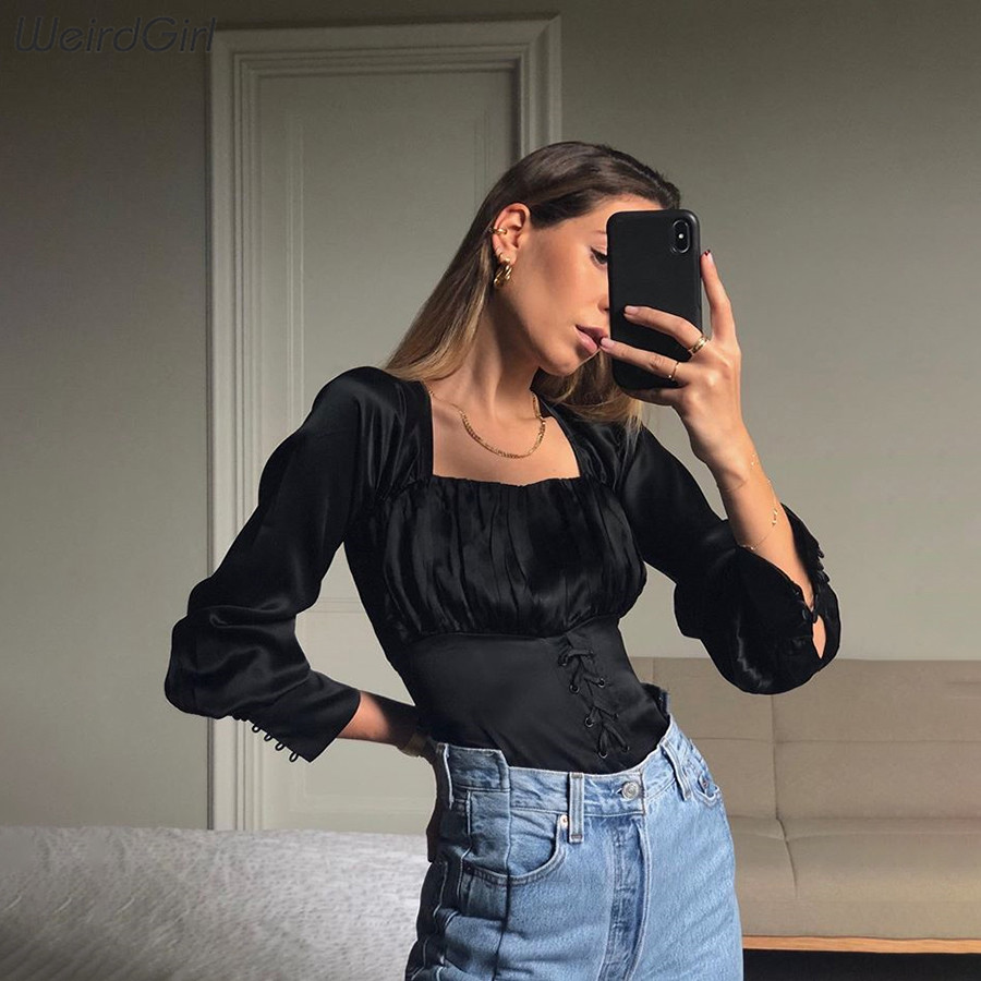 Weirdgirl Women Casual Fashion Tshirts Long Sleeve Bandage Slim Soft Tees Lady Office Wear Retro Black Basic 2020 New Spring