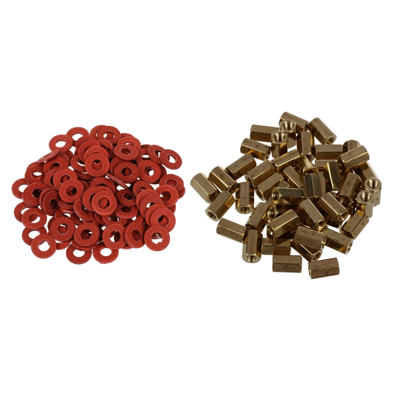 50 Pcs Metal Hex M3 Female Screw PCB Standoff Spacers 8mm Body & 100Pcs Red Motherboard Screw Insulating Fiber Washers