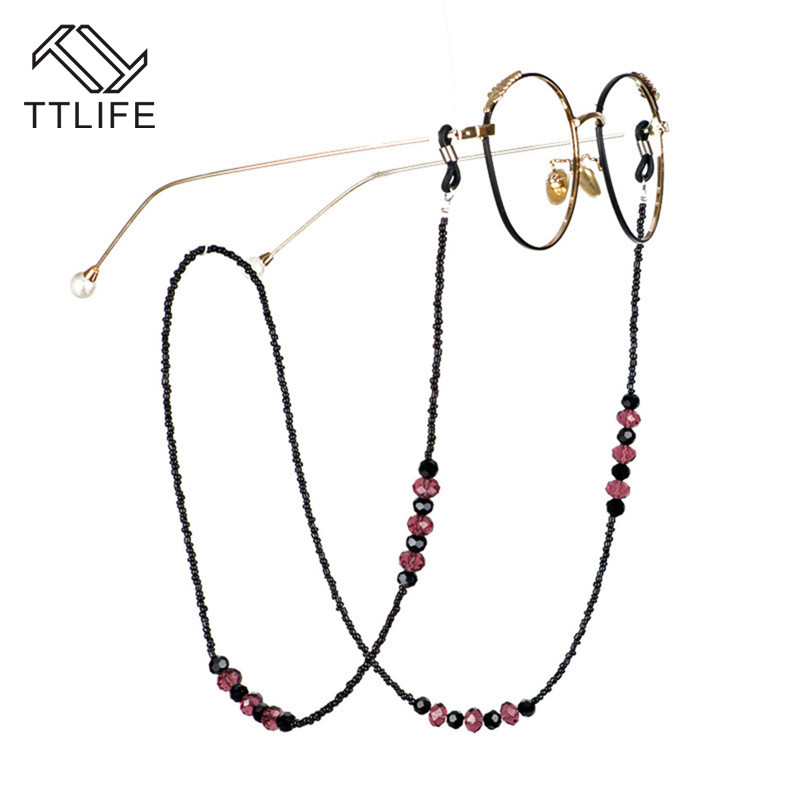 TTLIFE 70cm Popular Beaded Glasses Chain Acrylic Beaded Glasses Chain Crystal Glasses Hanging Chain Reading Accessories YJHH0627