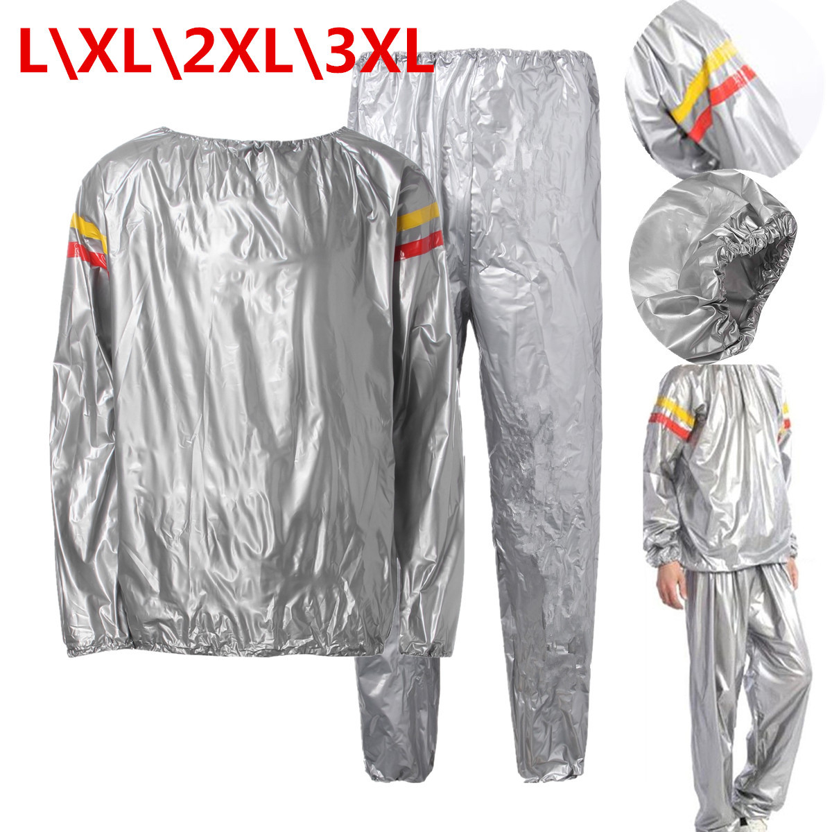 Men Women Black L-3XL PVC Fitness Slimming Loss Weight Sweat Suit Sauna Workout Suit Exercise Gym Calories Burner