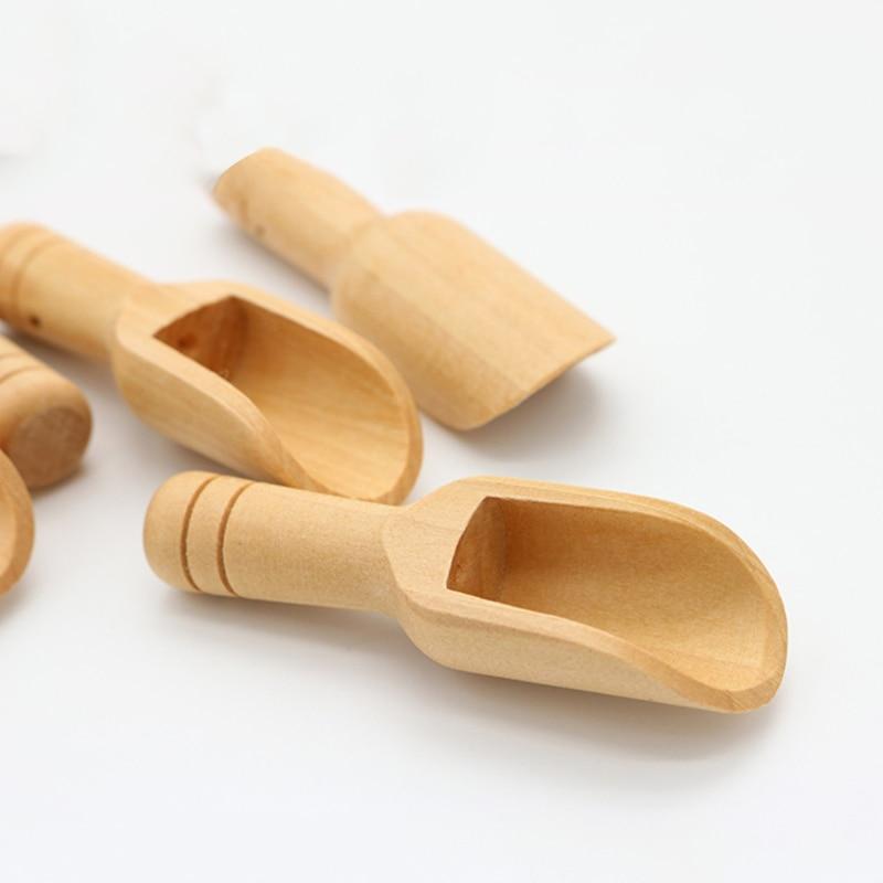 Mini cuillère en bois Naturel café thé herbes poudre cuillères, petites cuillères de bain de bonbons épices sel saveurs cuillères Gadget de cuisine outils de cuisine
