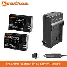 POWTREE 2800mAh LP-E6 LPE6 LP E6 Camera Battery+Charger for Canon 5D Mark II Mark III EOS 6D 7D 60D 60Da 70D 80D DSLR L50 rechargerable 2650mah lp e6 lp e6 lpe6 camera battery for canon eos 5ds 5d mark ii mark iii 6d 7d 60d 60da 70d 80d dslr eos 5dsr