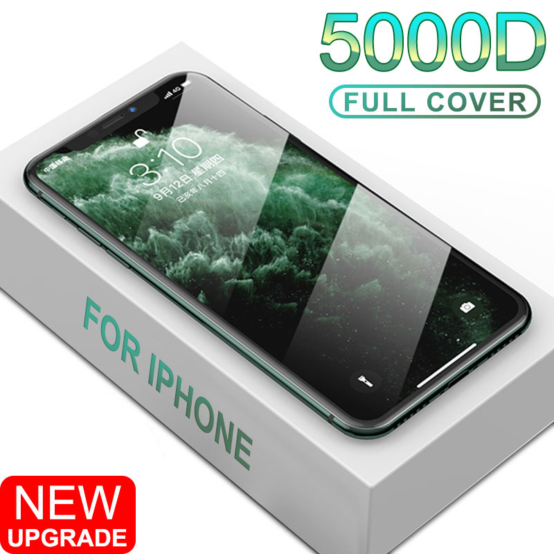 5000D Full Cover Tempered Glass On The For IPhone 11 X XS Max XR Screen Protector Glass For IPhone SE 2020 6 7 8 Plus 11Pro Film