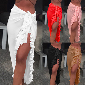 New Mini Beach Dress Cover-ups Summer Women White Chiffon Tunic Dress Bikini Sarong Wrap Skirt Swimsuit Cover Up Vestidos praia