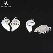 10 Set/lot Heart Broken Best Friends Charms Small Metal Charms for Floating Bracelets Necklace Diy Jewelry Making Wholesale Bulk(China)