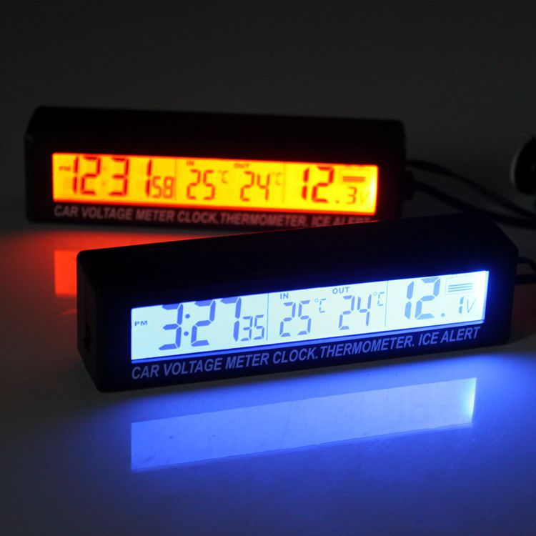 Genuine Product EC88 Temperature + Clock + Voltage Three-in-One LED Car Mounted Electronic Clock Double Color Night Light