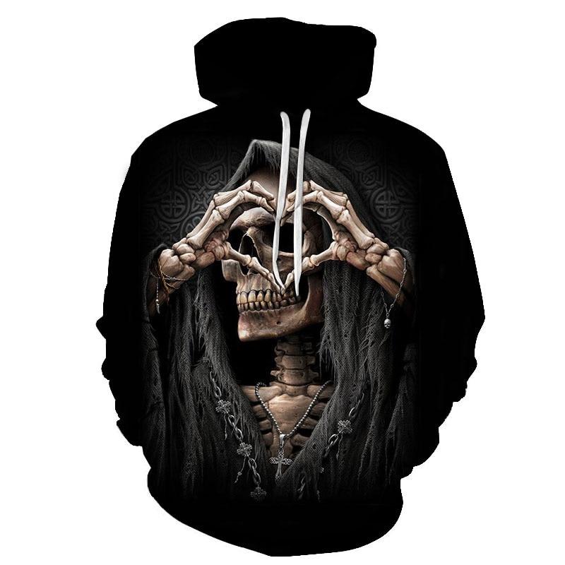 2019 New Gothic Skull Hoodie Men's Hip Hop Hoodie Men / Women's Thin 3D Sweatshirt Print Skull Hoodie Pullover