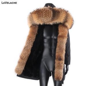 Coat Man Outerwear Parkas Winter Jacket Warm Natural Waterproof New-Fashion Long Fur