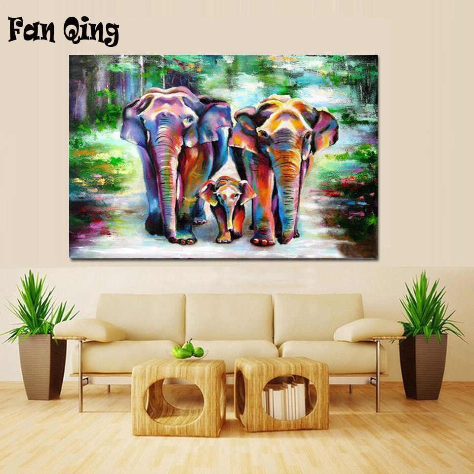 GoodKE DIY Elephant-Pattern Rhinestone Painting Home Living Room Decor Cross-Stitch