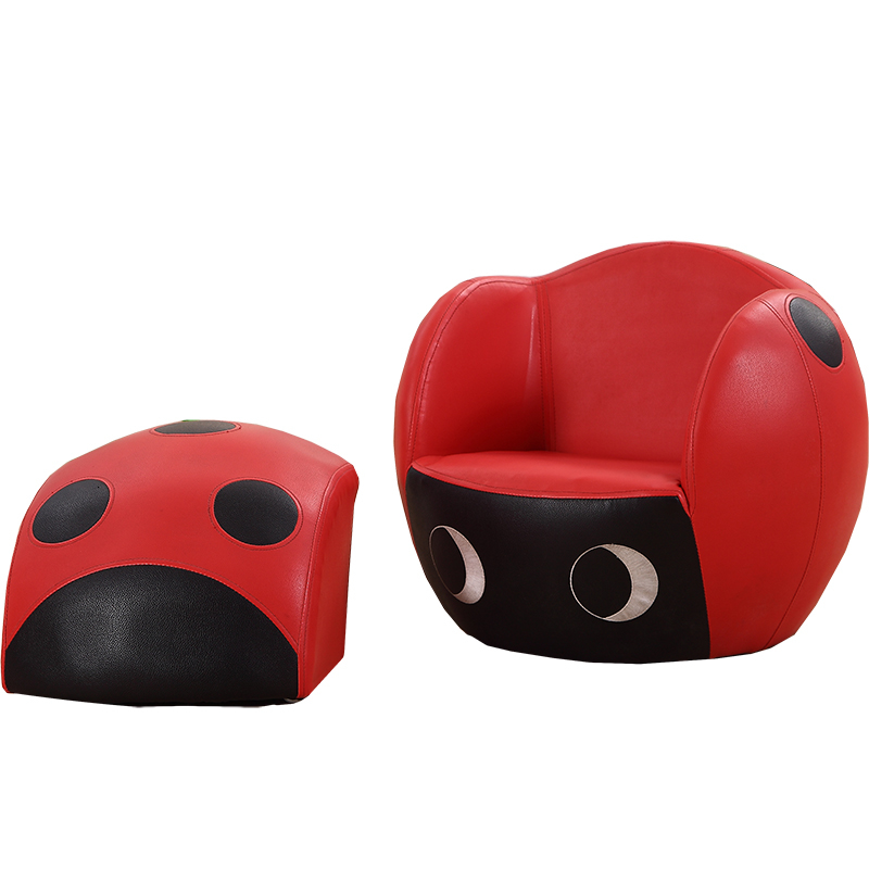 Cartoon Ladybug Baby Sofa Leather Origin Children Sofa Chair Belt Tool Bean Bag Kids Bedroom 2-in-1 Flip Open Sofa Zitzak Red