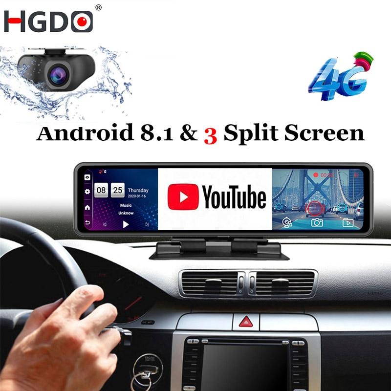 Hgdo 12 camera dvr câmera do painel do carro dvr android 8.1 4g adas espelho retrovisor gravador de vídeo fhd 1080p wifi gps traço cam registrador
