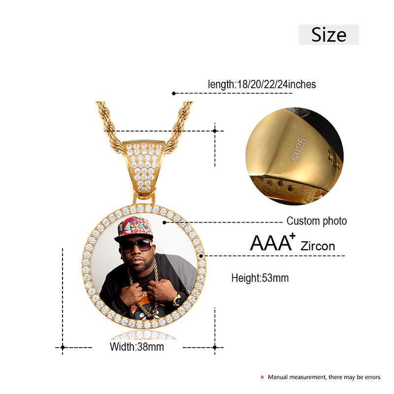 TOP S925 CUSTOM Picture Memory Medallions Solid จี้สร้อยคอเงินแท้ 925 วัสดุจี้ Hip Hop ผู้ชายเครื่องประดับ