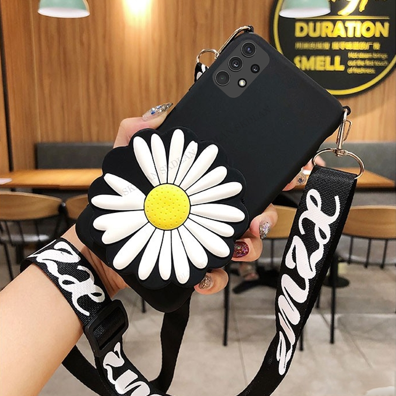 3D Cute Bear Zipper Wallet Phone Case For Samsung S21 S20 FE Note 20 A12 M31S M51 Note 10 S10 Lite Lanyard Soft Tpu Phone Cover