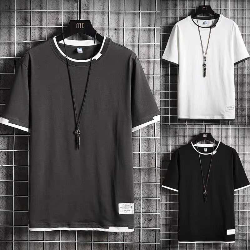 Summer Simple Solid Color Polyester T-Shirt Men's Short Sleeve Top Cotton T-Shirt Men's O-Neck Comfortable Top