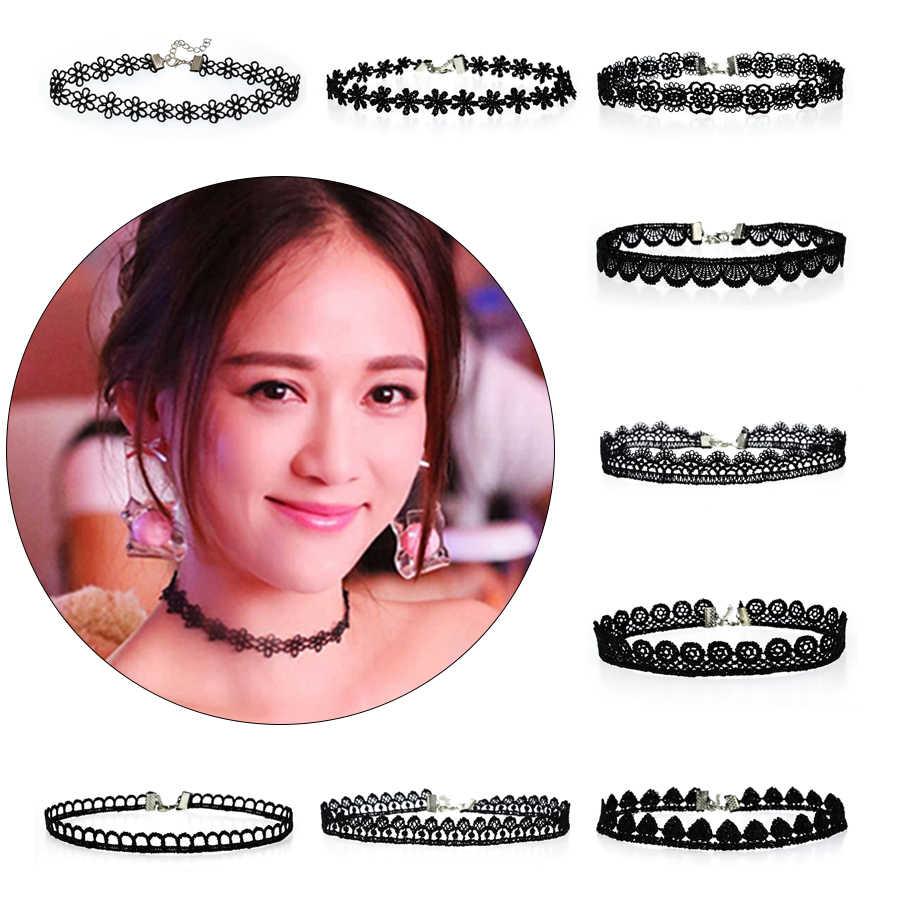 1 PC Fashion Kain Kalung Perhiasan Hitam Renda Tattoo Kalung Hadiah untuk Wanita Wanita Kalung Hadiah Natal
