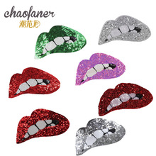 Patches Clothing Women Shirt Top  Biker Patch Cartoon Lips Sequins deal with it T-shirt girls Iron on Patches for clothes