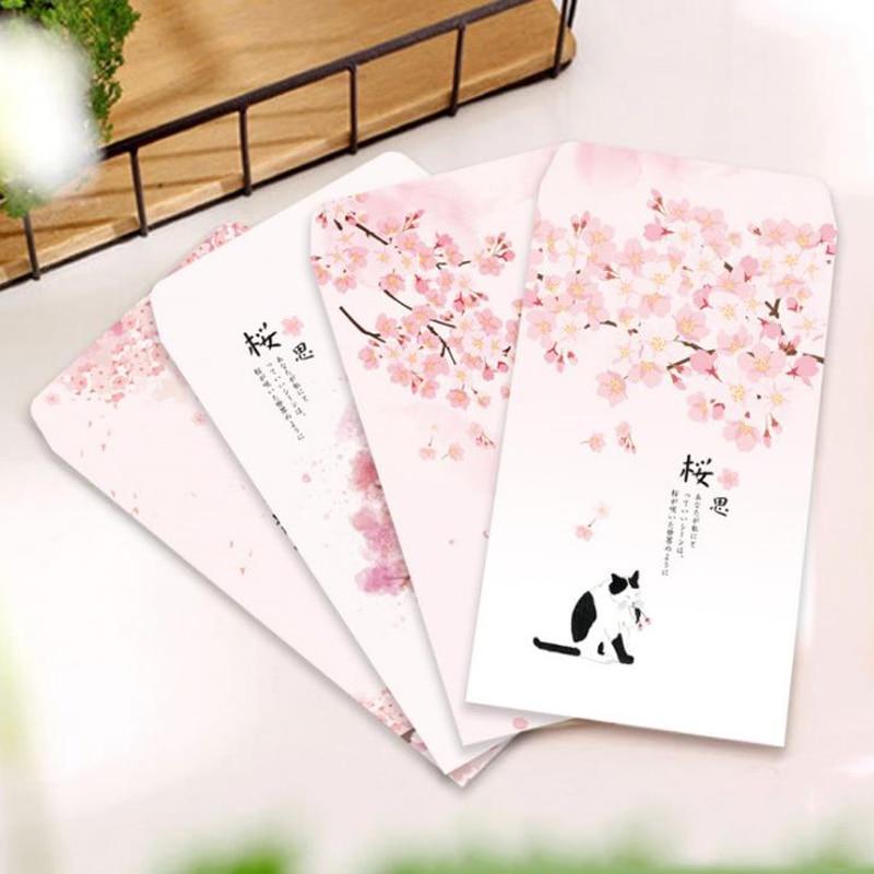 20 Pcs/set Lovely Romantic Pink Cherry Sakura Cat Paper Envelopes Message Card Envelope Stationary Storage Organizer Gift