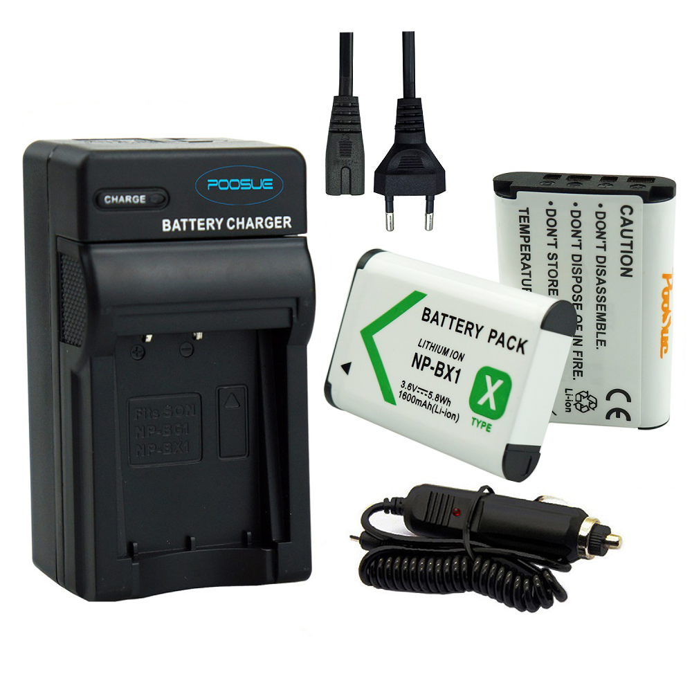 bateria 1600mAh NP-BX1 Battery NP BX1+Euro/US Cable Car Charger for Sony Camera HDR-AS100v AS30v HX50 DSC-RX100 HX400 WX350 MV1