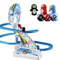 Com brinquedos musicais escadas de escalada brinquedos pai-filho interação quebra-cabeça pinguim slide elétrico railcar com música