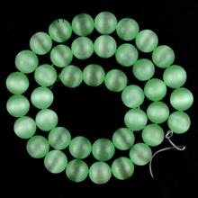 Natural Gem Light Green Cat Eye Stone Beads For Jewelry Making 4 6 8 10 12mm Round Spacer Loose Diy Bracelet Necklace 15