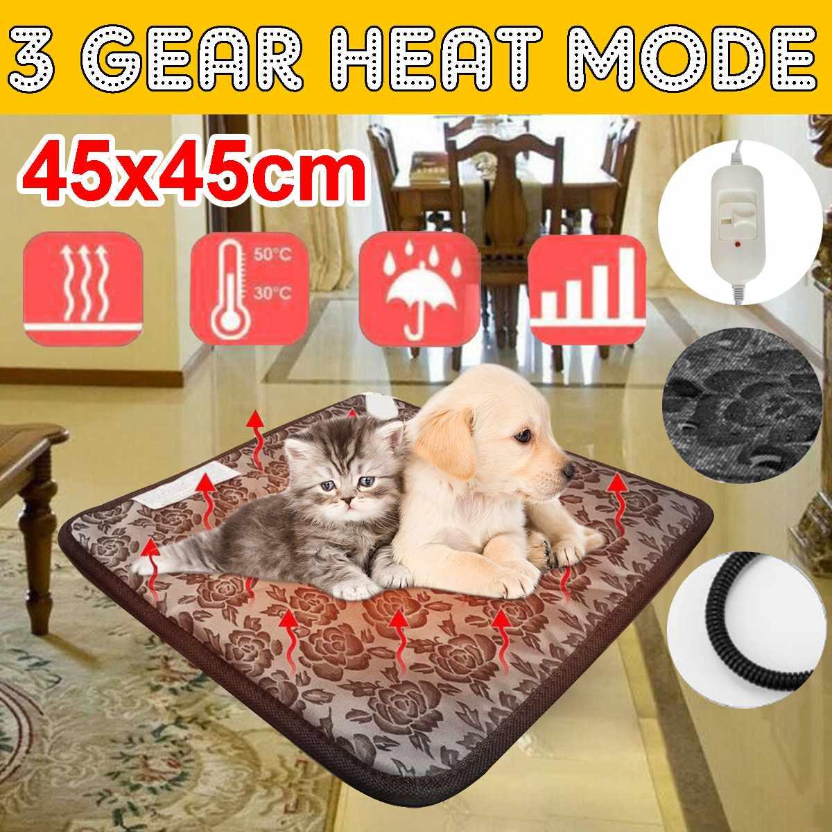 Winter Warm Electric Heating Pad 110V 50Hz Pet Dog Cat Electric Heating Pad Three-speed Temperature Animal Carpet 45x45cm