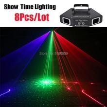 цена на 8Pcs/Lot Good Effect Dj Laser Disco 4 Lens RGB Stage Light Laser Lighting Pattern Beam Network Laser Light For Party DJ KTV