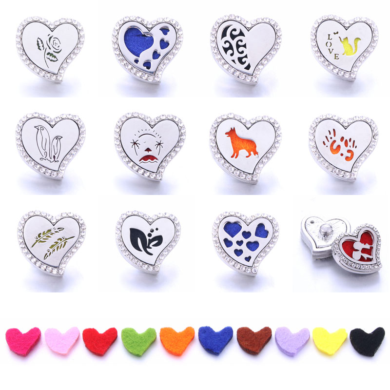New Aromatherapy Heart Snap Buttons Perfume Locket Magnetic Stainless Steel Essential Oil Diffuser Button Bracelet Jewelry