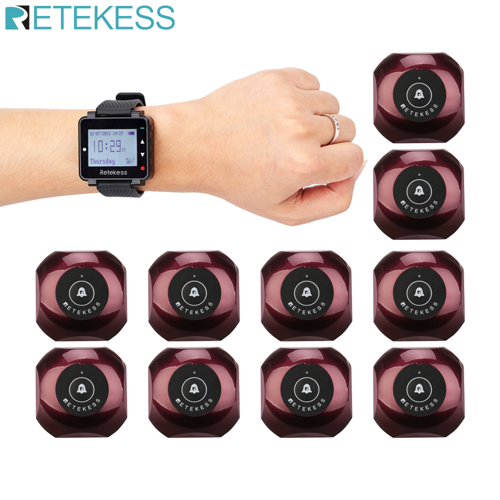 Retekess Pager Waiter Calling System 1 T128 Watch Receiver + 10pcs TD013 Call Button Wireless Call Restaurant Catering F9477