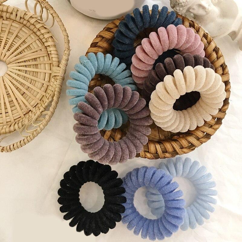 1PC Elastic Rubber Bands Telephone Wire Hair Ties Donut Ponytail Holder Gum Women Girls Spiral Scrunchies Hair Accessories
