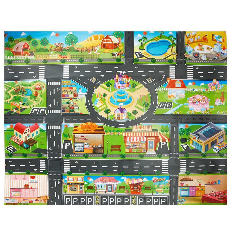 130*100 センチメートル市内地図おもちゃの子供たちは車ラグマット市道市道建物駐車地図子供インタラクティブままごとのおもちゃ