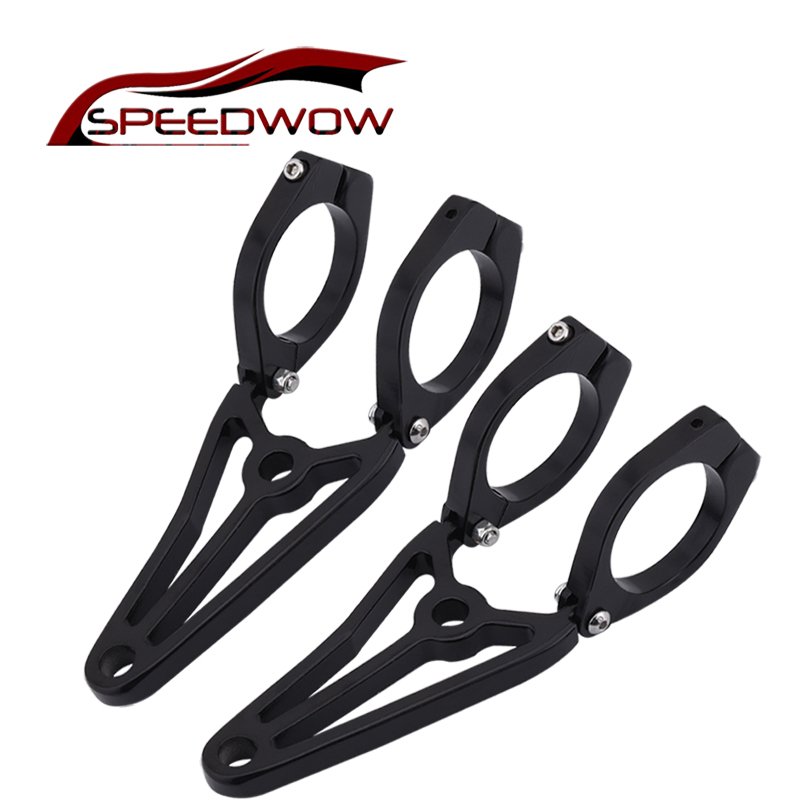 SPEEDWOW 41mm Motorcycle Headlight LED Turn Signal Light Mount Bracket Fork Ear Turn Signal Clamps For Chopper Cafe Racer