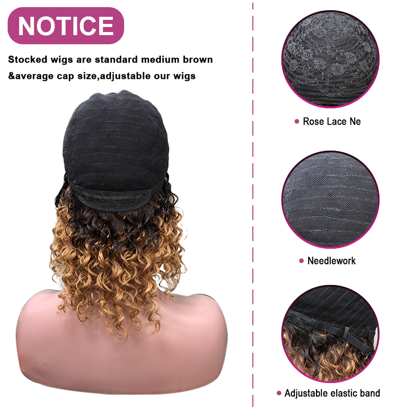 Angelbella Full Machine Made 100 Human Remy Hair Curly Wigs 12 inch 1b#/30# Ombre Color Short Human Hair Wig With Bang For Women