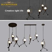 Lamps Cord Hanging-Lamp Pandant Iron-People-Lights Metal Creative Children Room Little-Man