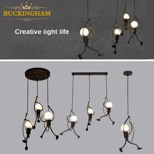 Lamps Cord Hanging-Lamp Pandant Iron-People-Lights Metal Creative Little-Man Modern Children