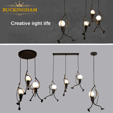 little man climbing pendant light modern hanging lamp creative iron people lights metal cord pandant lamps for kid children room