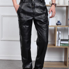 Autumn Winter Male Plus Size Straight Genuine Leather Pants Men's Thickening Motorcycle Pants Loose Windproof Leather Pants